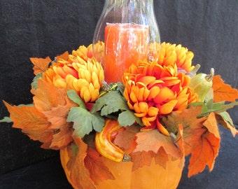 Fall pumkin floral centerpiece; Fall; Autumn; Halloween; Thanksgiving; Faux; Silk; Artificial Flowers, leaves, pumpkins; squash; candle