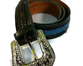 Vintage black and teal turquoise leather belt Womens silver rhinestone belt buckle large braided leather belt size 38