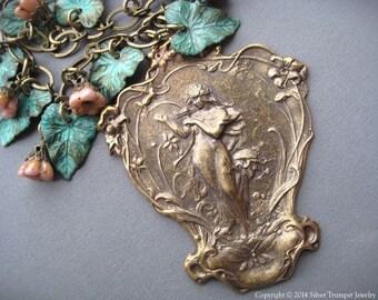 Art Nouveau Necklace - Nature Goddess Necklace - Mucha Jewelry - Large Art Nouveau Pendant - Goddess Jewelry - Verdigris Leaf Necklace