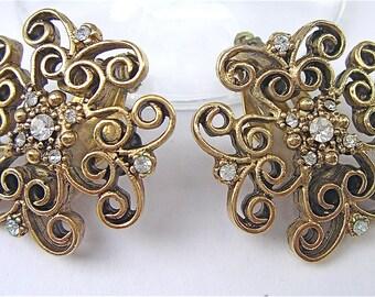 Vintage Filigree Earrings Filigree Gold Earrings Gold Tone Lace Earrings Gold Lattice Earrings Vintage Gerard Yosca Earrings Yosca Jewelry