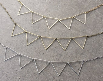 Party Bunting Geometric Pennant Necklace in Antique Brass, Silver, and Gold-Plated Finishes