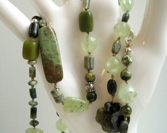 Green Gemstone Necklace / Hand Knotted Necklace / Mixed Stone Beaded Necklace / Agate Jasper Prehnite Jade Rhyolite
