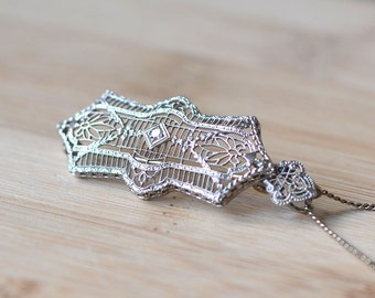 1920s Diamond Filigree Pendant or Brooch - Platinum and White Gold Art Deco Pendant or Brooch - Art Deco 1920s Brooch or Pendant With Chain