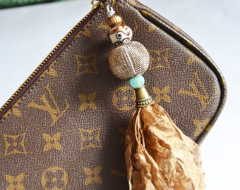 PURSE CHARM Key Holder Key Chain or Zipper Pull Tassel Purse Charm