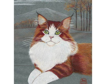 Cat art print of a longhair, Norwegian Forest or Maine Coon cat.