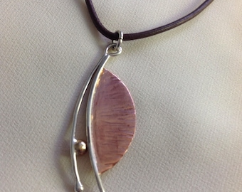 Hammered copper, silver and brass necklace
