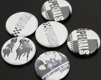 """6 The Specials 1"""" Buttons/Pinbacks/Badges Ska Two Tone 1980s 80s New Wave UK Punk Rare Music"""