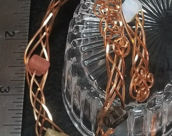 Square copper braided wire and stone bead bracelet