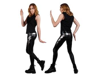 Mens Leggings with Double Lightning Bolts, Meggings, Men Festival Clothes, Glam Rock, Rocker Leggings, Burning Man Men, EDC, by LENA QUIST