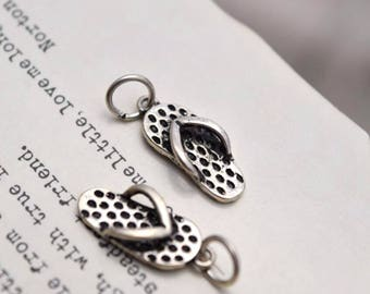 2 pcs sterling silver flip flop flipflop sandals charm pendant  LJX30
