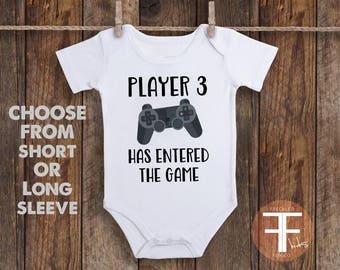 Player Three ONESIE ®, Pregnancy Reveal to Husband, Pregnancy Announcement, Pregnancy Announcement Onesie, Player Three Has Entered The Game