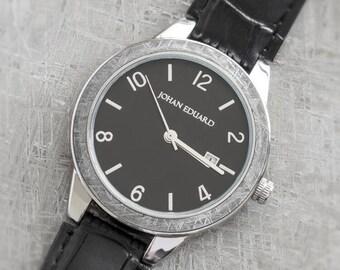 Gibeon Meteorite Watch, Metal Wristwatch With Alligator Grain Leather Strap, Space Gift, Meteorite Jewelry, Johan Eduard Watches
