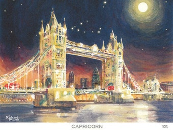 CAPRICORN CONSTELLATION PRINT, Mounted Print, Astrology Gift, Valantine Gift, Horoscope, Capricorn Print,Moonlight,Starry Night,London Print