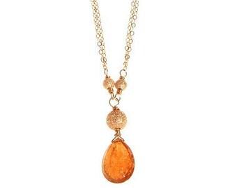 Golden Tourmaline Drop Pendant Necklace 14k GF