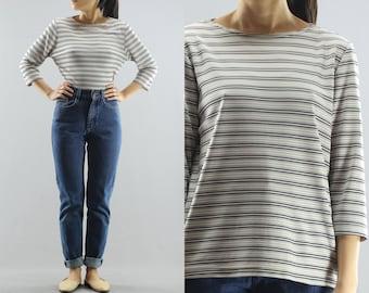 Stripped Crop Quarter Sleeve Blouse T Shirt By Clio Women's Size Medium 90's Vintage
