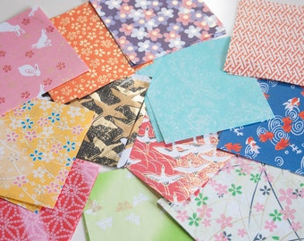 Yuzen Paper - 3.5 x 3.5 inches Japanese motif papers (12 papers)