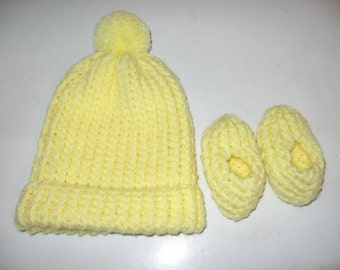 Yellow Hat & Booties Baby Set