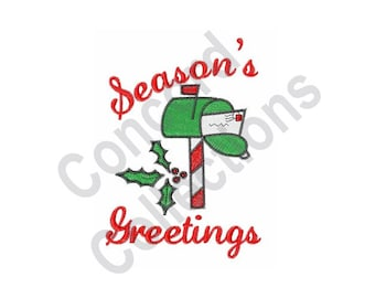 Season's Greetings - Machine Embroidery Design, Christmas Letter Mailbox