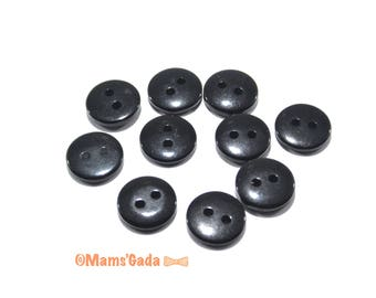 Set of 20 buttons sewing/Scrapbooking color REF:BO 11mm black resin / 46