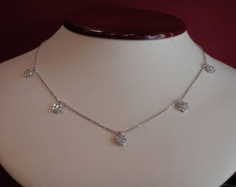 Handmade OOAK Flower Diamond Necklace
