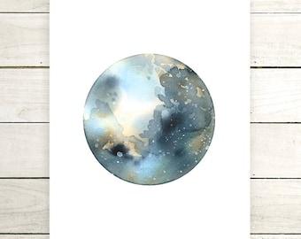 "Planet Watercolor Painting. ""Muriel"" Fine Art Print. Galaxy. Decor. Giclée"