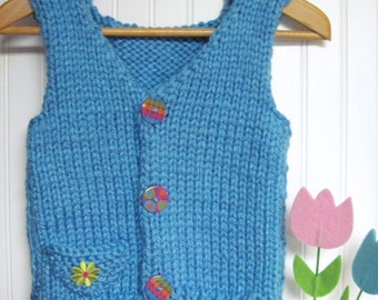 Child's Vest Bulky Yarn  Knitting Pattern for 5 to 12 Years Old