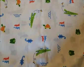 "PUL fabric, diaper fabric, polyurethane laminate fabric,  PUL fabric later gator print, 34""."