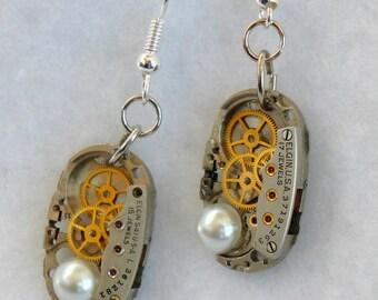 Vintage Watch Movement Earrings  SE177