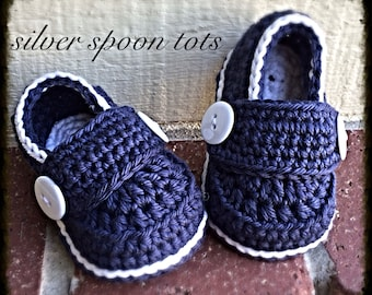 Baby Boy loafers,Crochet Loafers ,Baby Booties,baby shoes, Navy Blue White Made To Order Custom Orders Welcome