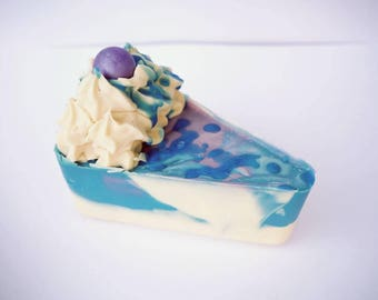 Freshly cut blueberry pie artisan soap cake