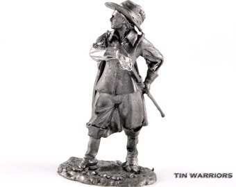 France. Royal Musketeer D'Artagnan from The Three Musketeers metal toy soldier sculpture. Collection 54mm 1/32 miniature figurine