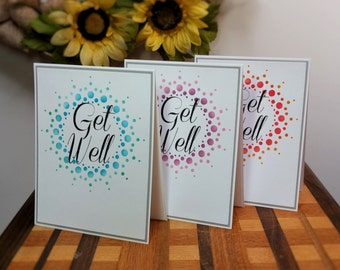 Get Well Greeting Card Pack, Sets of 6, Dot Burst Design, Greeting Card Pack