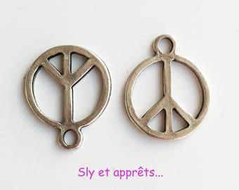 2 silver 18mm Peace and Love charms