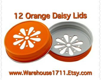 Mason Jar Lids ~ 12 ~ Daisy Lids ~ (Orange)/Party Jar Lids/Wedding Jar Lids/Anniversary Jar Lids
