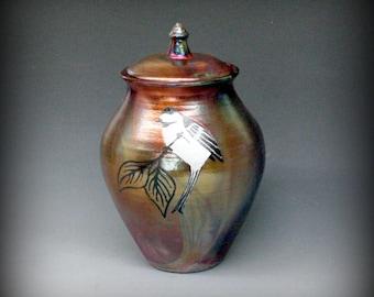 Raku Urn with Chickadee in Metallic Iridescent Colors