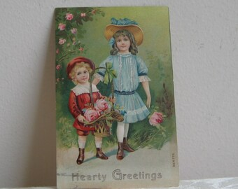 "Antique Postcard Children Embossed Victorian by SB Germany 1910 ""Hearty Greetings"" -  Edwardian Boy Girl Flower Basket, Paper Ephemera"