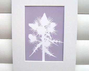 Botanical Art Print - Scottish Thistle in Dusky Lilac Purple - Modern Botanical Art Print Floral Pretty Papercut Design