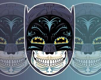 1960's Batman Sugar Skull 3x4 Vinyl Sticker