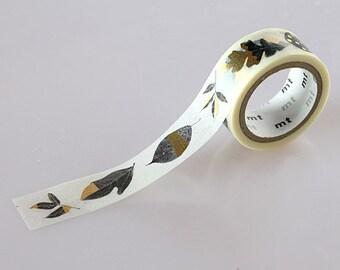 Leaf Tape, Japanese mt fab Washi Paper Masking Tape, Hobonichi planner, Scrapbooking, Collage, Bullet Journal, Simple Natural Art Design