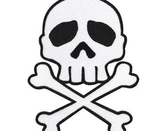 Kreepsville Skull & Crossbone Black on White Patch Poison Craft Iron-On Applique