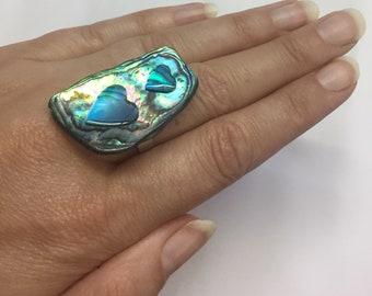 Paua Shell Ring with Hearts