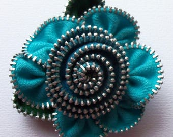 Turquoise Blue Floral Brooch / Zipper Pin by ZipPinning 2739