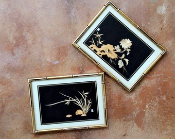 framed pair of bamboo art , asian art, framed by Zak's, vintage asian art
