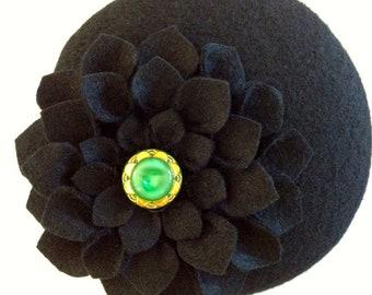 Black Wool Felt Button Fascinator with Handmade Flower and Vintage Button