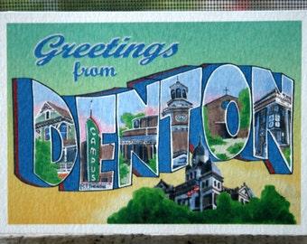 Greetings From Denton Postcard