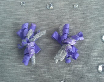 Girls Purple/Silver Hair Clips - Set of 2