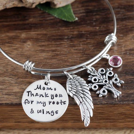 Mother of the Bride Gift,Thank You for my Roots and Wings, Bridal Gift for mom, Bracelet for Mom, Personalized Bracelet for Mom