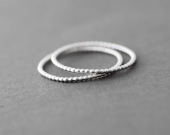 Set Two Stacking Rings, Sterling Silver Dotted Skinny Rings, Oxidized Silver Ring