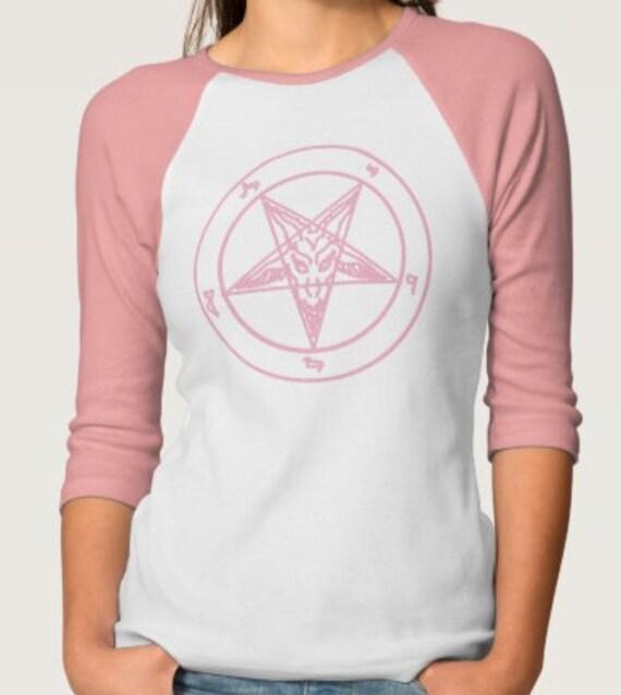 Pink Baphomet Pentagram Raglan Tee
