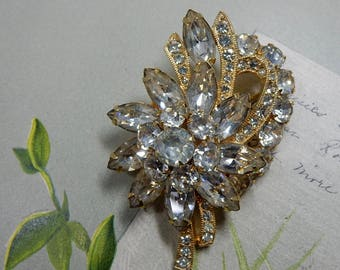 EISENBERG ICE Signed Flower Bouquet Clear RhineStone Brooch in Gold Setting     OEO7